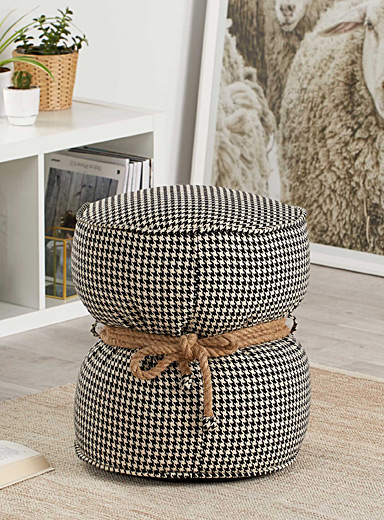 Rustic cord belted pouf