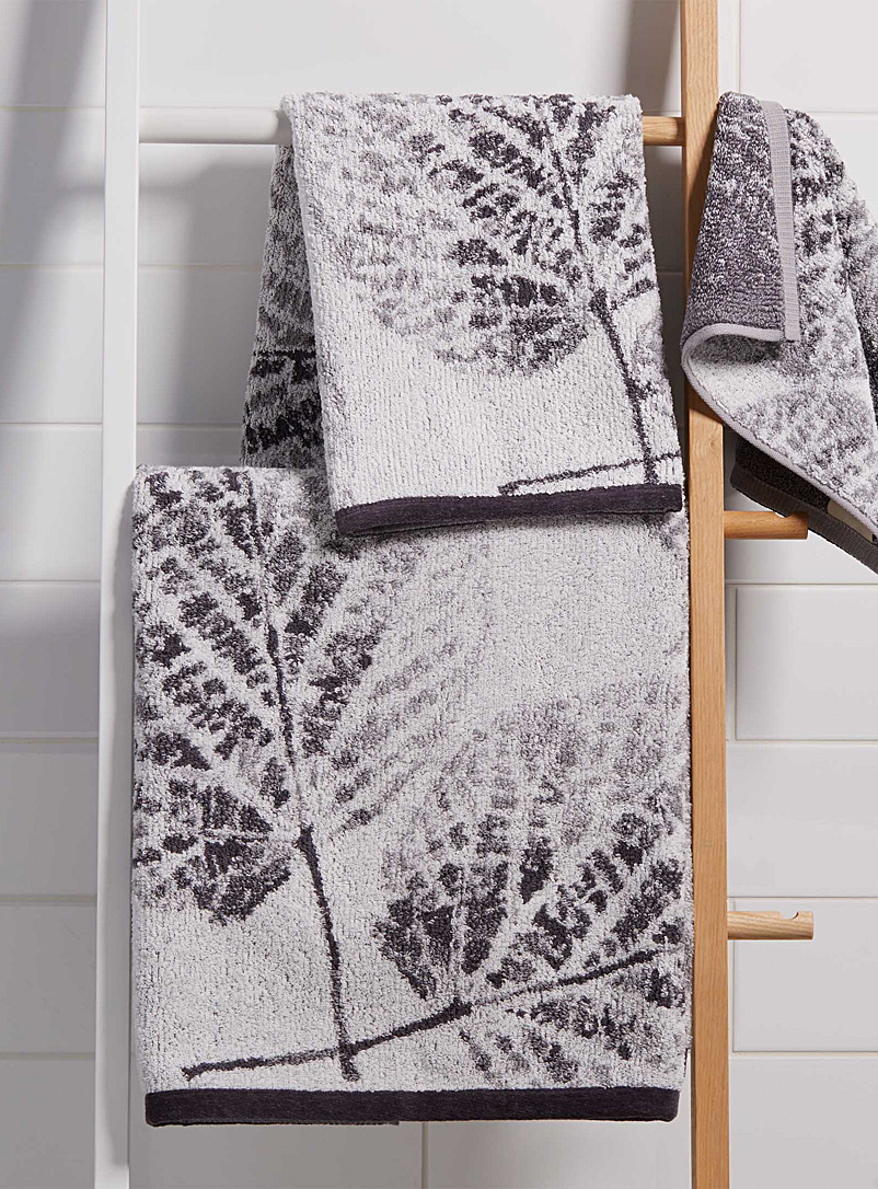 Silver foliage jacquard towels - Jacquards & Embroidery - Grey