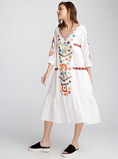 Arty embroidery peasant dress