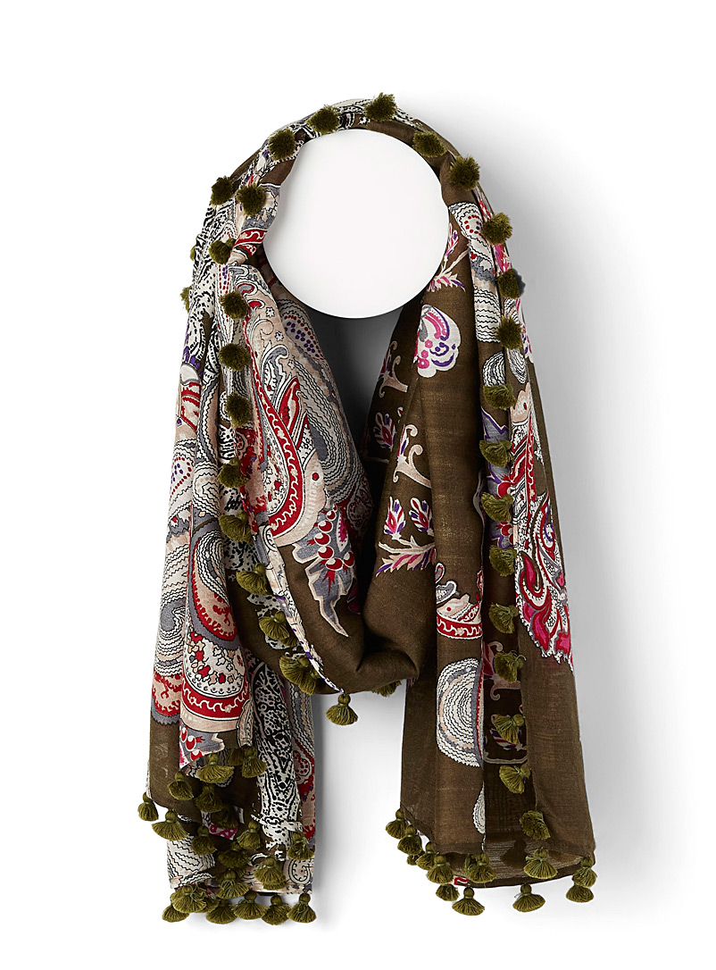Citrus Patterned Green Pompom trim paisley scarf for women