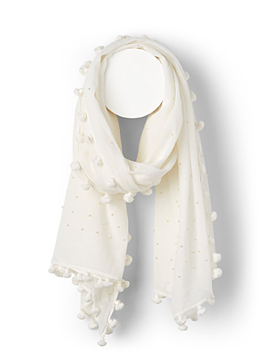 Citrus Ivory White Pearly bead and pompom scarf for women