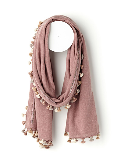 Tassels and sequins scarf
