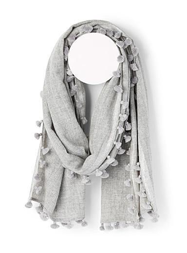 CITRUS Silver Pompom ash grey scarf for women
