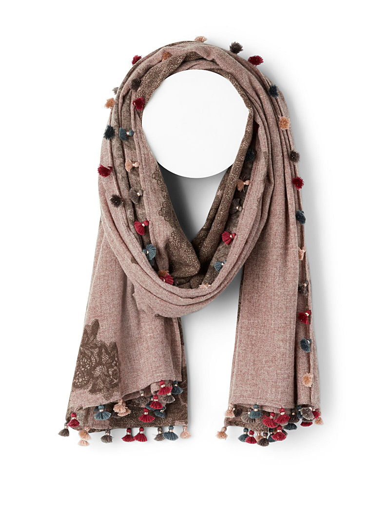 CITRUS Patterned Brown Lush blossoms scarf for women