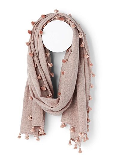 CITRUS Pink Monochrome pompom scarf for women