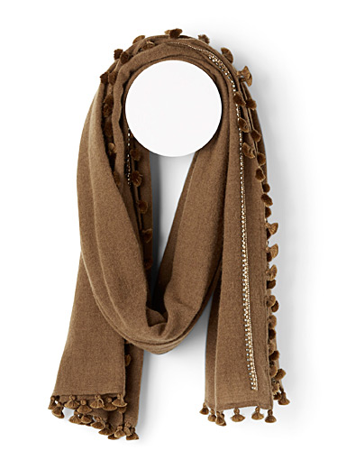 CITRUS Brown Shimmery sequin scarf for women