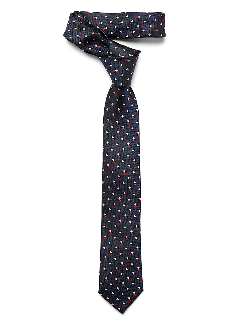 Cube combo tie - Regular Ties - Marine Blue