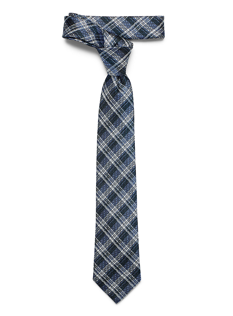 Le 31 Marine Blue Piqué check tie for men