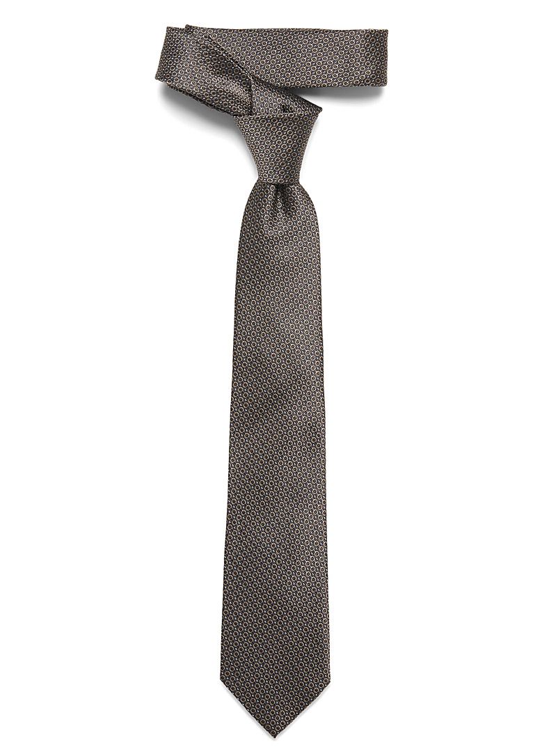 Le 31 Light Brown Traced circle tie for men