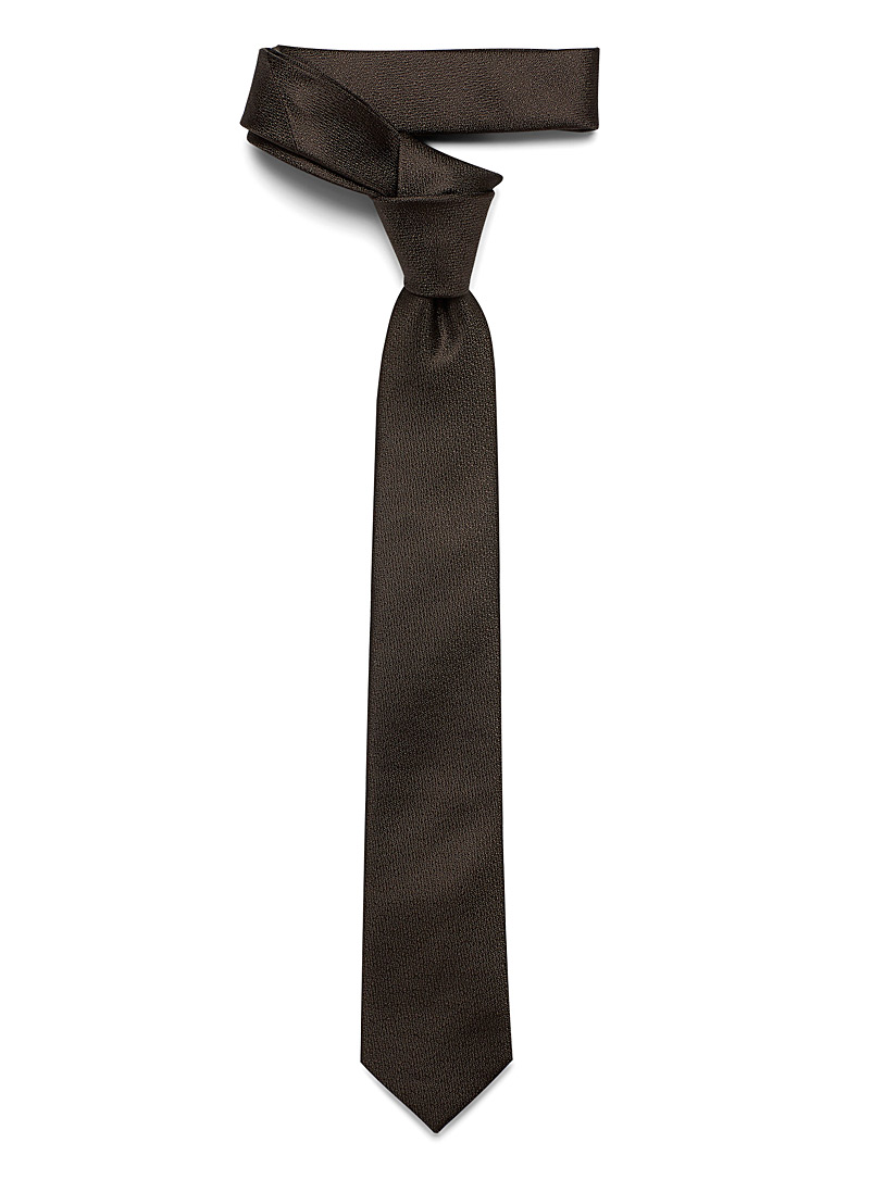 Le 31 Brown Solid skinny tie for men