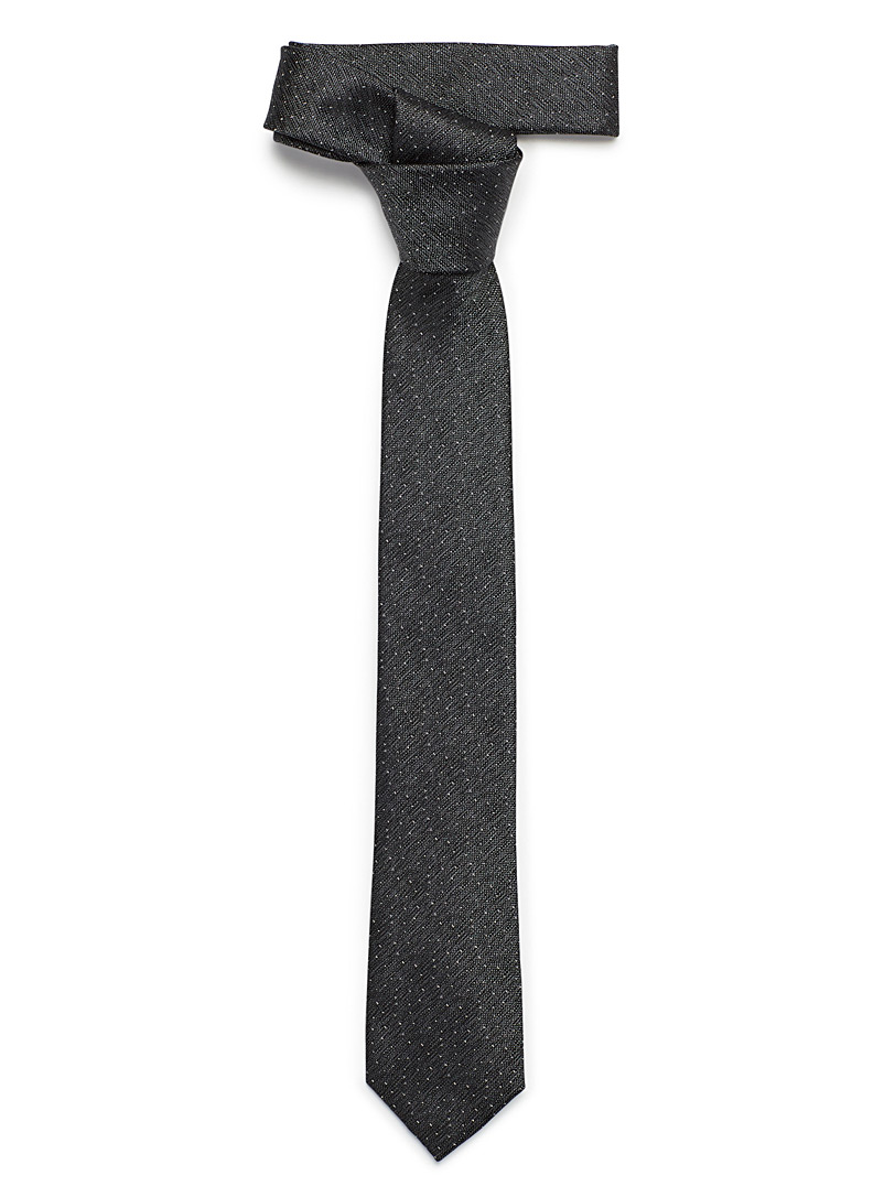 Le 31 Black Tone-on-tone dot heather tie for men