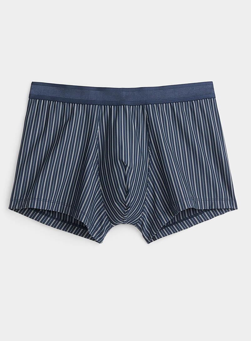 Le 31 Marine Blue Striped microfibre trunk for men