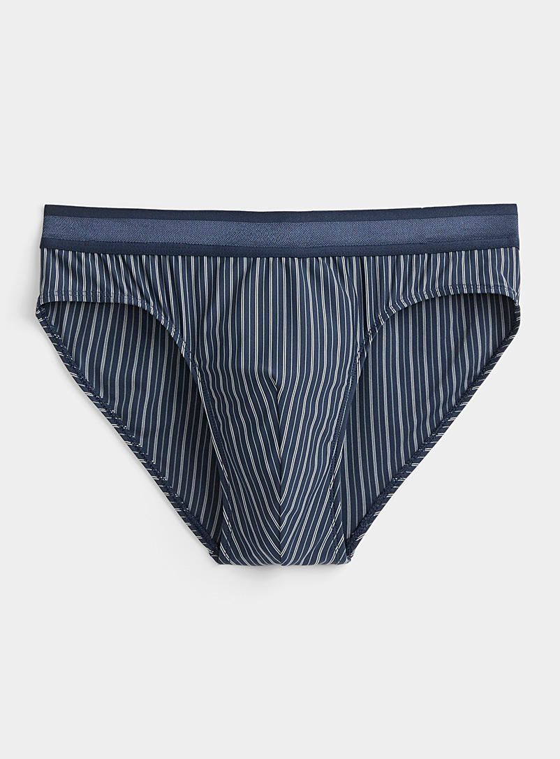 Le 31 Marine Blue Striped microfibre brief for men