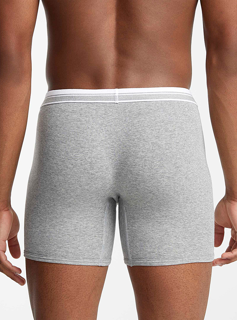 Le 31 Charcoal Essential ribbed boxer brief for men