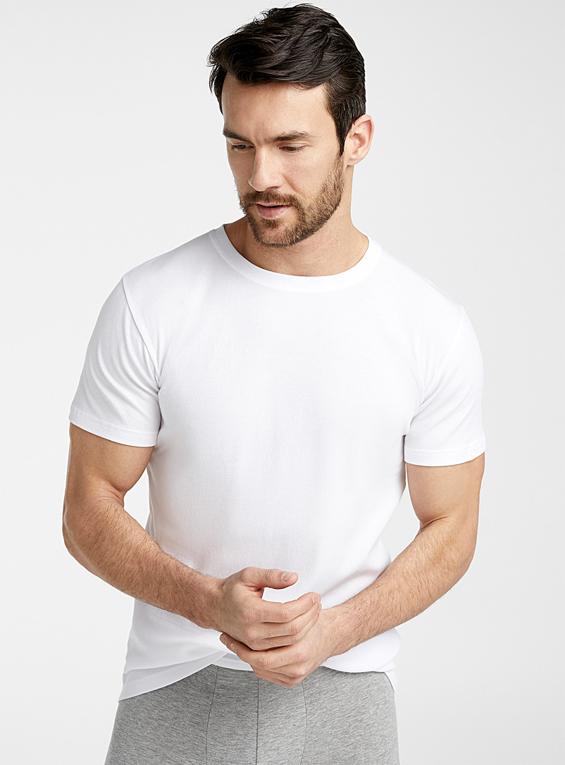 Le 31 White Basic crew-neck T-shirt for men