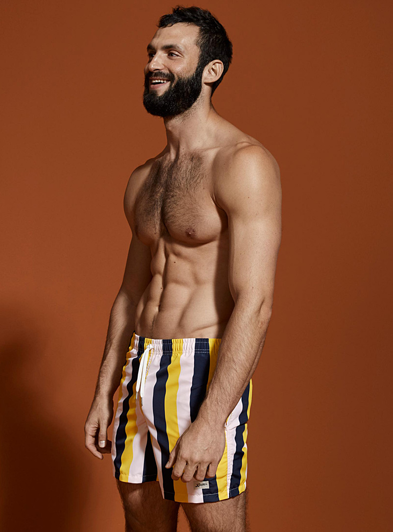 Tricolour striped swim trunk - Urban Trunks - Patterned Yellow