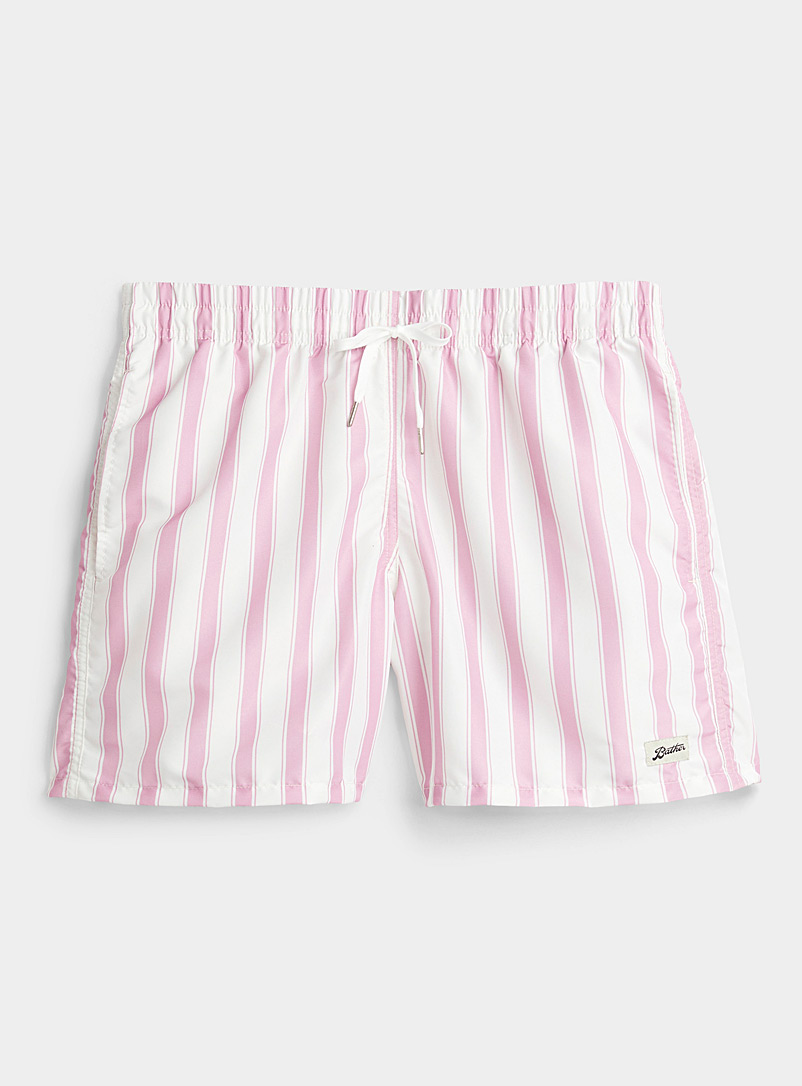 Bather: Le maillot short rayures parasol rose Rose pour homme