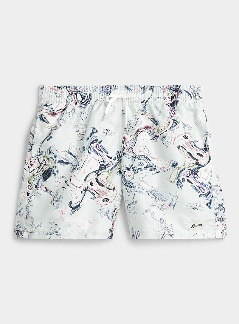 Bather: Le maillot short distorsion florale Vert à motifs pour homme
