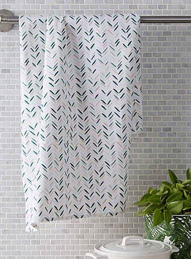 Lush green chevron tea towel