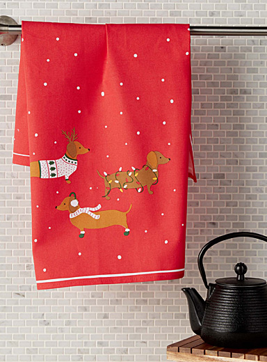 Holiday dachshund tea towel