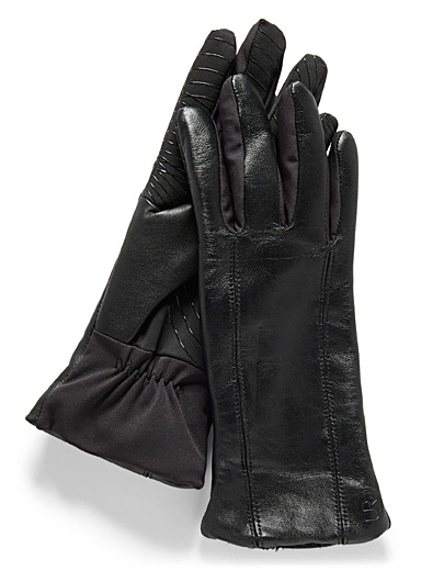 Reflective band leather gloves