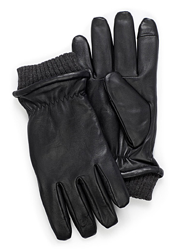 Le 31 Black Techno lined leather gloves for men