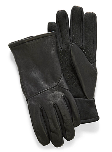 Leather-insert tech gloves