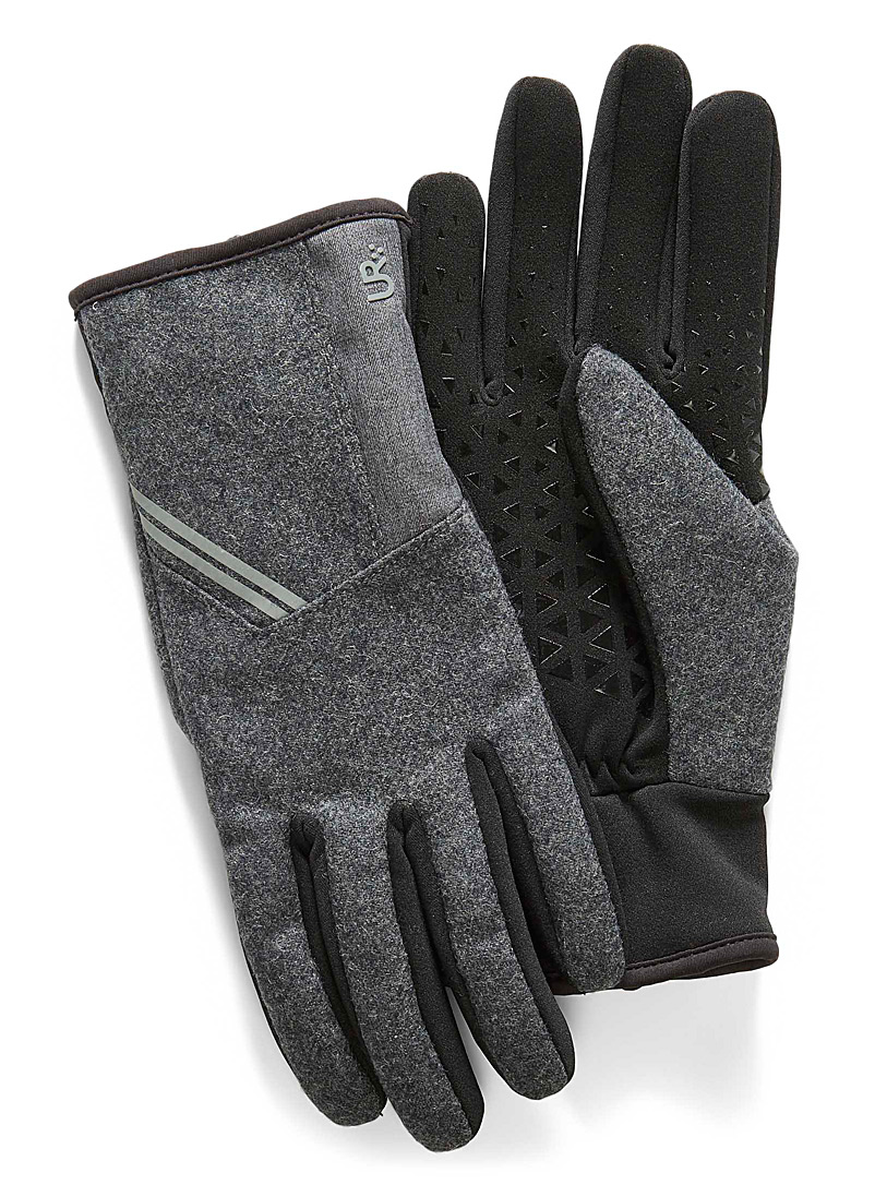 UR Powered Grey Heather knit tech gloves for men