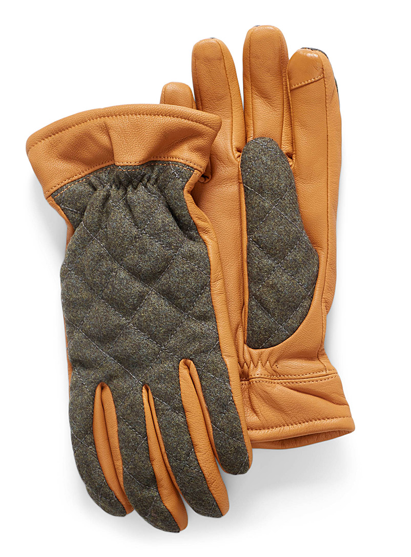 Le 31 Fawn Quilted leather and wool gloves for men