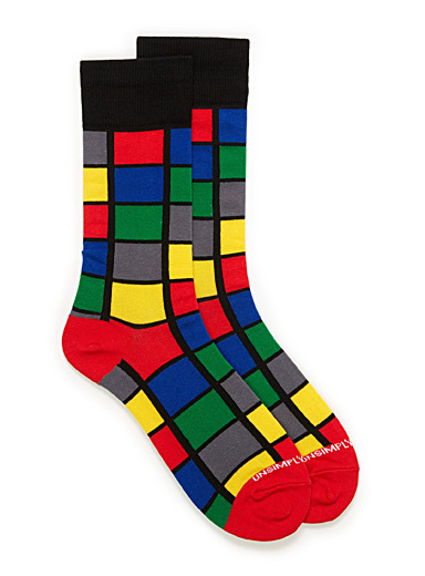 Pop windowpane check socks
