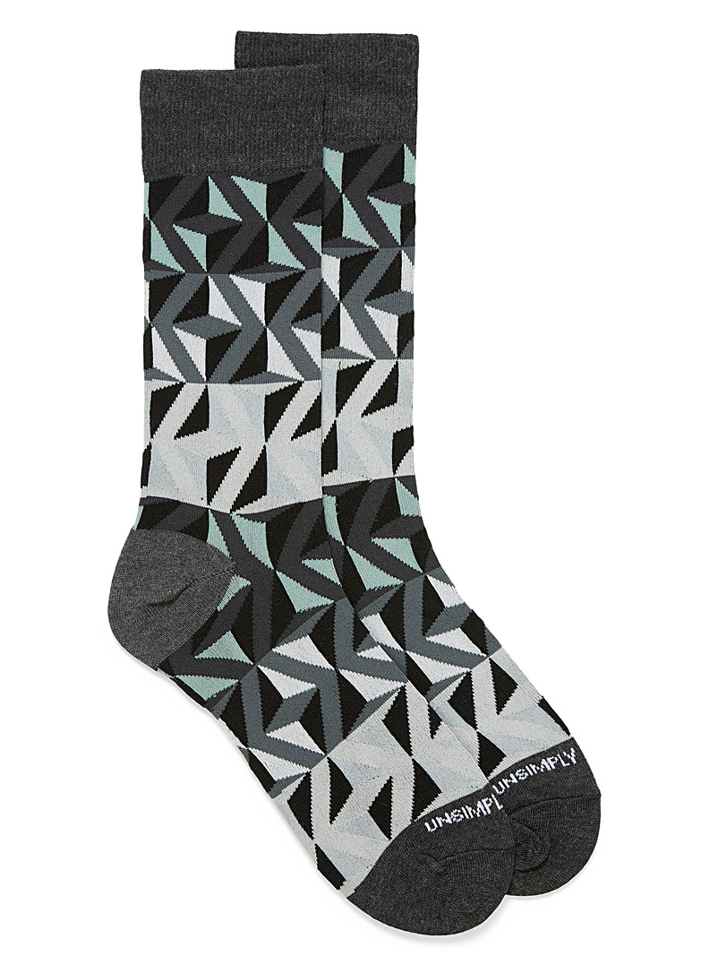 Unsimply Stitched Patterned Black Optical triangle socks for men