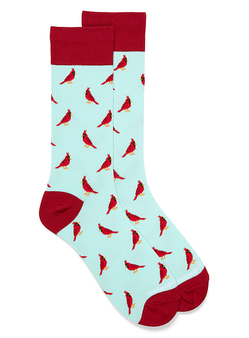 Unsimply Stitched Baby Blue Scarlet cardinals socks for men