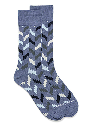 Unsimply Stitched Slate Blue Zigzag puzzle socks for men