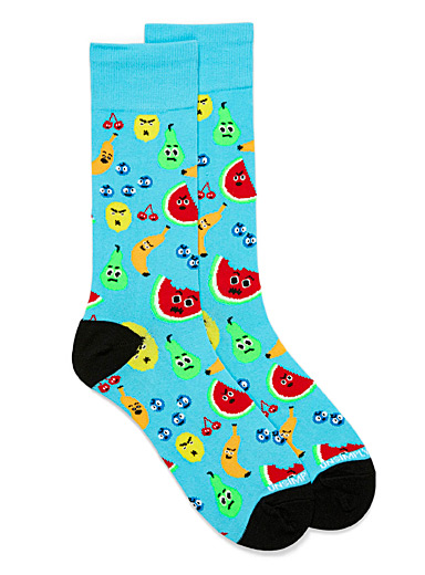 Unsimply Stitched Teal Angry fruit socks for men