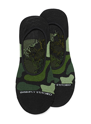 Unsimply Stitched Patterned Green Camo ped socks for men