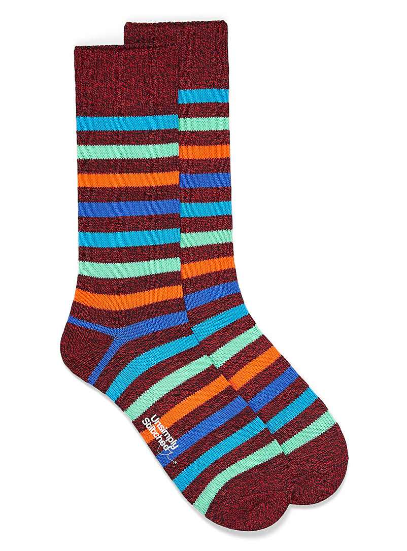 Unsimply Stitched Patterned Red Standard Stripe hiking socks for men