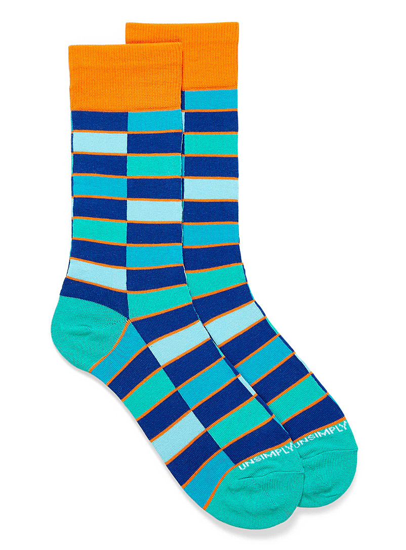 Unsimply Stitched Patterned Blue Pop tile socks for men