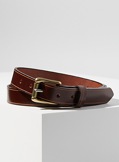 Thin two-tone buckle belt