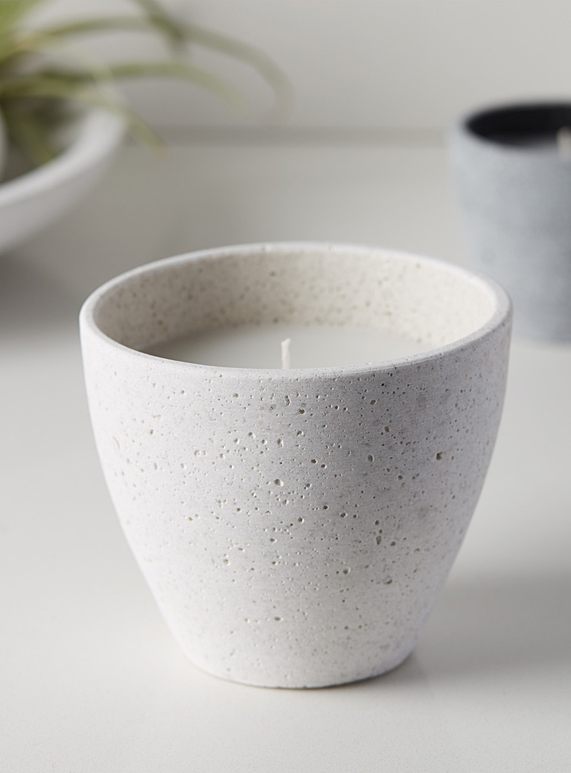 Large faux-stone candle