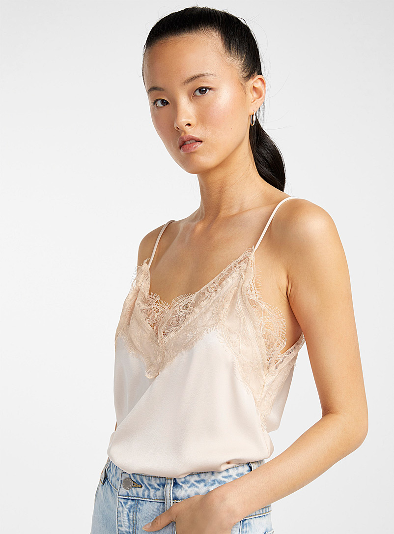 Icône Ivory White Lace-trim satiny cami for women