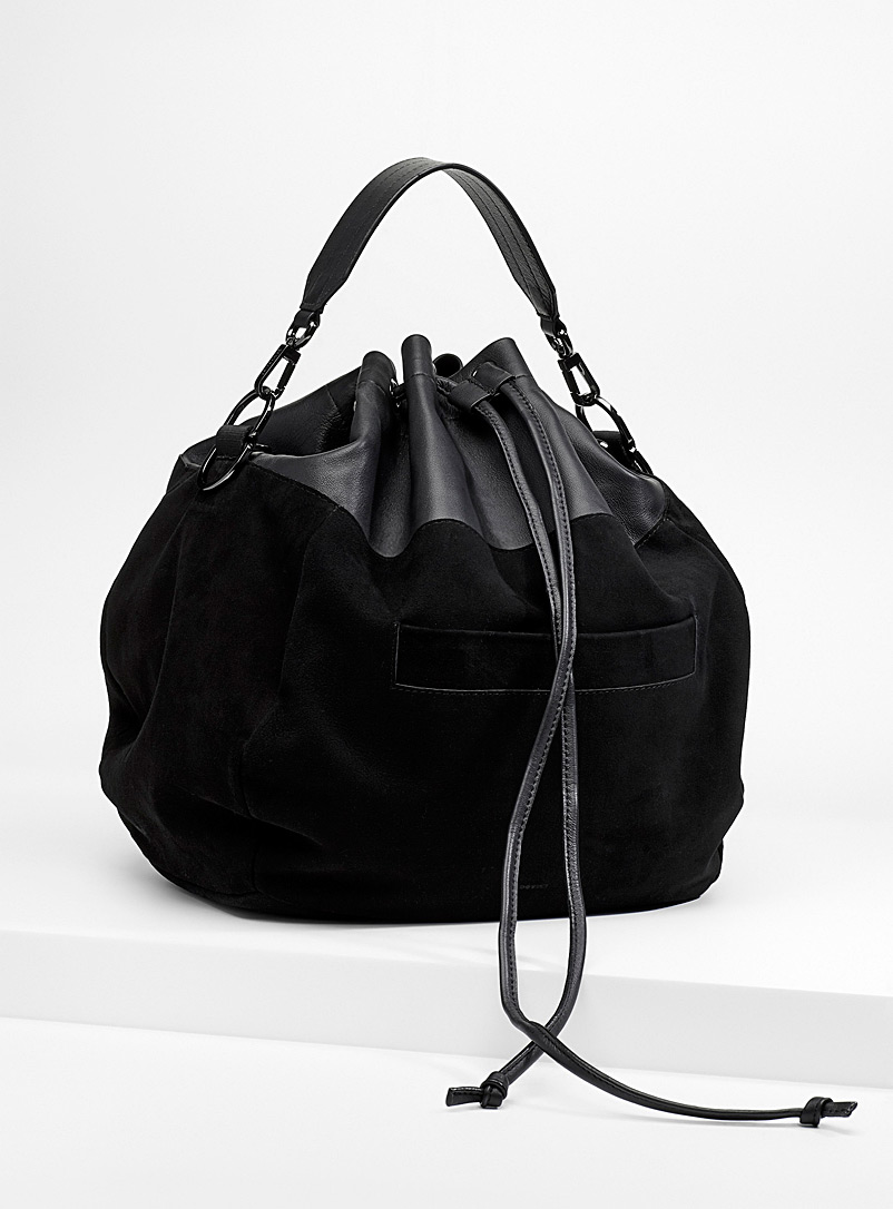 Juno bucket bag - Leather and Suede - Black