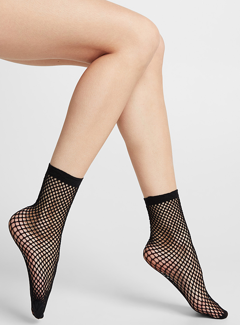Pretty Polly Black Mesh ankle socks for women