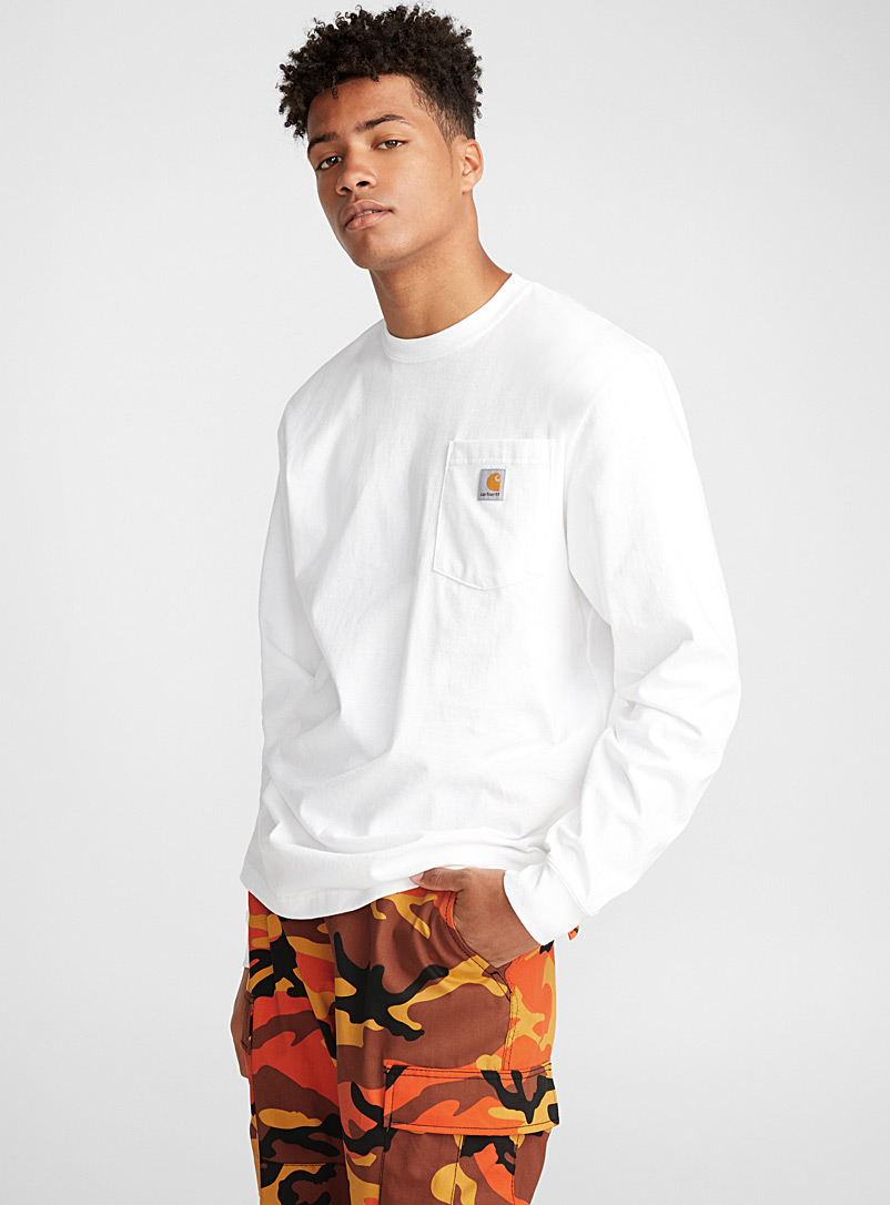 Long-sleeve pocket tee - Logo wear - White