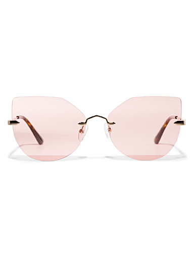 Frameless cat-eye sunglasses