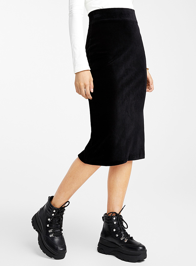 Ic?ne Black Corduroy pencil skirt for women
