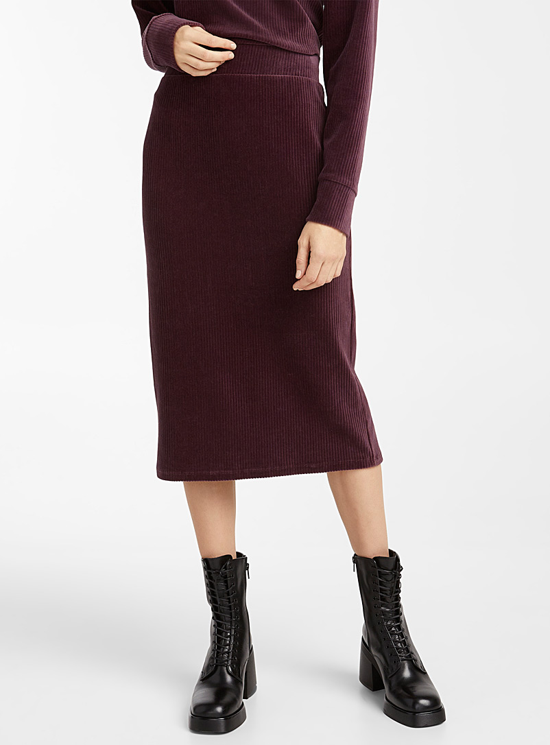 Icône Dark Crimson Corduroy pencil skirt for women
