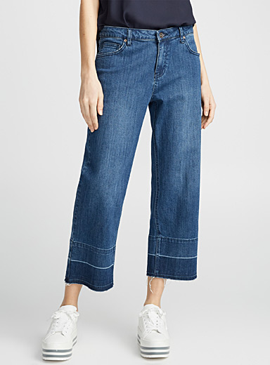Faded undone-hem cropped jean