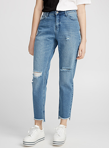 Le mom jeans vintage bordure asymétrique