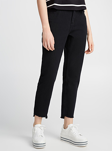 Asymmetric-hem black mom jean