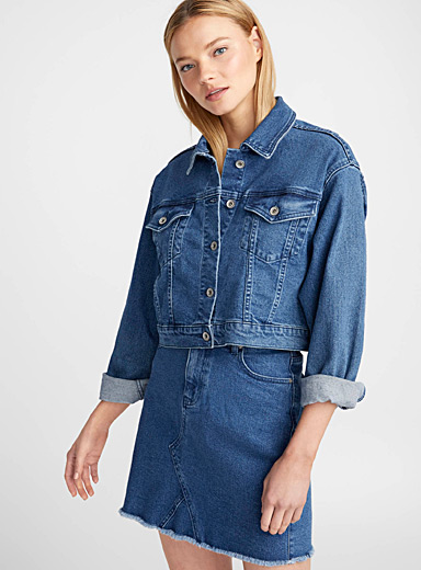 Cropped blue jean jacket
